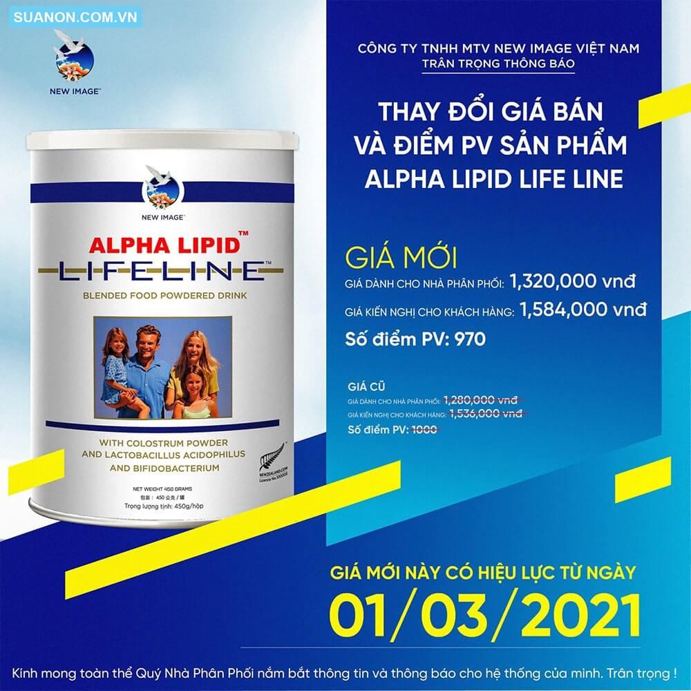 Cập nhật giá sữa non Alpha Lipid Lifeline